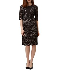 Hobbs London Rafaela Lace Overlay Dress Black Latte Beige
