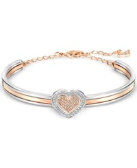 Swarovski Two Tone Crystal Heart Bangle Bracelet