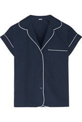 Bodas Seersucker Cotton Pajama Top Navy