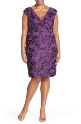 Plus Size Women's Marina Embroidered Rosette Sequin Lace Double V Neck Sheath Dress Eggplant