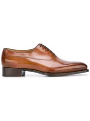 Santoni Brogue Detail Oxford Shoes Brown