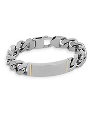 Lotus 14K Yellow Gold And Stainless Steel Large Link Bracelet Silver