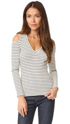 Monrow Stripe V Neck Top