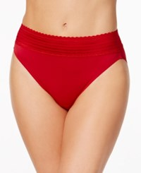 Warner's No Pinching No Problems Lace Hi Cut Brief 5109 Crimson Red