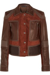 Theory Zandita Leather Paneled Suede Jacket Red