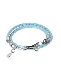 Sho London Mari Friendship Sterling Silver And Leather Double Bracelet
