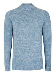 Topman Blue And White Chunky Boucle Textured Turtle Neck Sweater