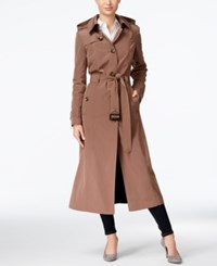 London Fog Hooded Maxi Trench Coat Tuscan