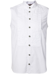 Christopher Kane Sleeveless Tuxedo Shirt With Pin Tuck Panels White