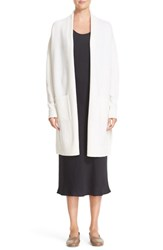 Vince Women's Side Slit Wool And Cashmere Cardigan Off White