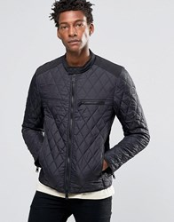 Replay Quilted Nylon Biker Jacket In Black Black