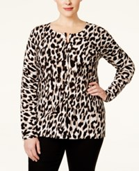 August Silk Plus Size Printed Cardigan Only At Macy's Ikat Leopard