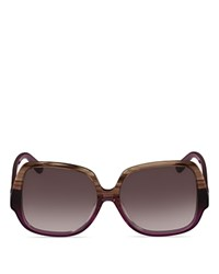Mcm Oversized Square Sunglasses 58Mm Striped Brown Gradient Lens
