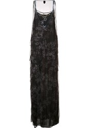 Vera Wang Crystal Embellished Tulle Gown Black