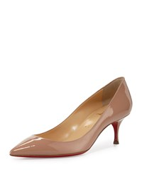 Christian Louboutin Pigalle Follies 55Mm Patent Red Sole Pump Nude Women's Size 39.5B 9.5B