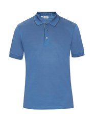 Brioni Short Sleeved Cotton Pique Polo Shirt Light Blue