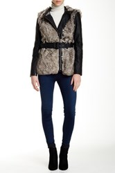 French Connection Alexia Faux Fur Trim Faux Leather Jacket Multi
