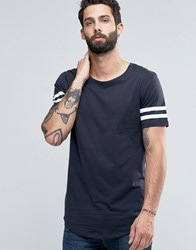 Only And Sons Longline T Shirt With Arm Stripes Curved Hem Navy White