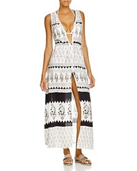 Echo Island Garden Maxi Dress Swim Cover Up White Black