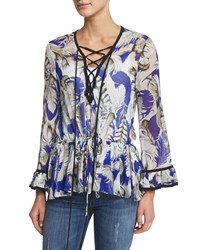 Roberto Cavalli Lace Front Long Sleeve Silk Georgette Tunic Blue