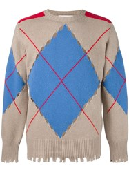 Msgm Perforated Argyle Jumper Nude And Neutrals