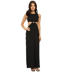 Michael Kors Draped Solids Open Back Cover Up Dress Black Women's Swimwear