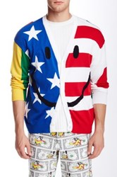 Moschino Stars And Stripe Patchwork Cardigan Blue