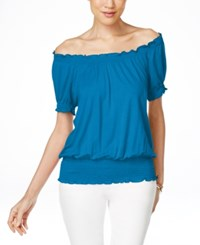 Inc International Concepts Smocked Waist Off Shoulder Peasant Blouse Only At Macy's Lapis Lazule