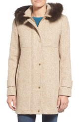 Petite Women's Ellen Tracy Genuine Fox Fur Trim Tweed Duffle Coat Camel