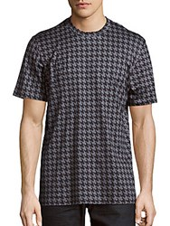 Brioni Houndstooth Cotton And Silk Tee Black Grey