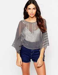Hazel Emboidered Smock Top Grey