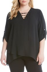 Karen Kane Plus Size Women's Lace Up Roll Sleeve Blouse