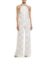 Miguelina Harriet Lace Rope Belt Coverup Jumpsuit Pure White