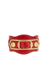 Balenciaga Classic Metallic Edge Leather Bracelet Red