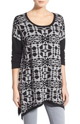 Women's Kensie Print Block Asymmetrical Pullover Heather Grey Combo