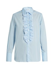 Bella Freud Dado Ruffle Placket Cotton Shirt Light Blue