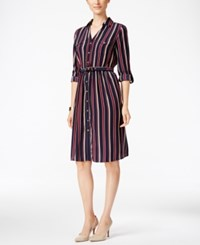 Charter Club Striped Fit And Flare Shirtdress Only At Macy's Deepest Nvy Cmb