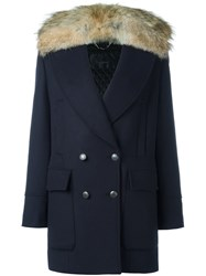 Belstaff Fur Collar Military Coat Blue