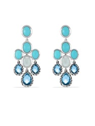 David Yurman Chandelier Earrings With Blue Topaz Turquoise And Milky Quartz Silver