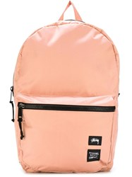Stussy Contrast Zip Up Backpack Pink And Purple