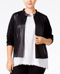 Alfani Plus Size Faux Leather Mixed Media Jacket Only At Macy's Deep Black