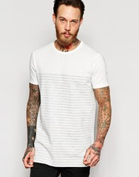 Asos Super Longline T Shirt With Scoop Back Hem And Boat Neck In Reverse Stripe White