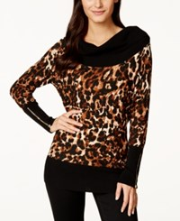 Thalia Sodi Zipper Embellished Cheetah Print Cowl Neck Sweater Only At Macy's
