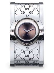 Gucci Twirl Stainless Steel Monogram Bangle Bracelet Watch Brown