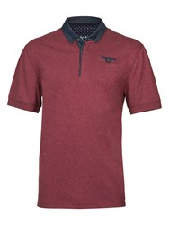 Raging Bull Chambray Collar Jersey Polo Red