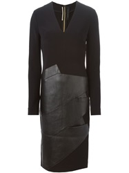 Roland Mouret Leather Panel Fitted Dress Black