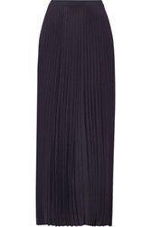 Helmut Lang Asymmetric Pleated Crepe De Chine Maxi Skirt Navy
