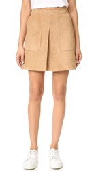 Vince Inverted Pleat Suede Miniskirt Tan