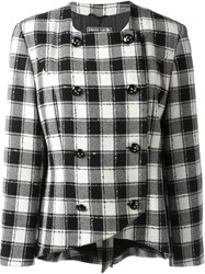 Pierre Cardin Vintage Checked Double Breasted Blazer Black