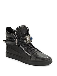 Giuseppe Zanotti Lizard Embossed Leather High Top Sneakers Nero